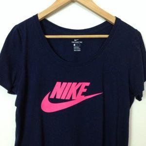 Nike Women 100% Cotton L Black Pink T-Shirt